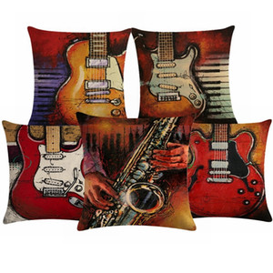 Linen Cotton Pillow Case Music Note Cushion Cover The Guitar Pillowcase Chair Seat Luxury Decorative