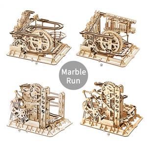 소년 나무 장난감 대리석 경주 실행 미로 공 트랙 DIY 3D 나무 퍼즐 코스터 모델 건물 키트 장난감 크리스마스 선물 07