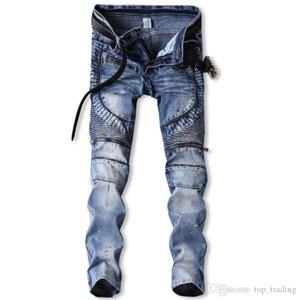 Men's Distressed Ripped Skinny Jeans Fashion Designer Mens Jeans Slim Motorcycle Moto Biker Causal Mens Denim Pants for Men Jeans 10825