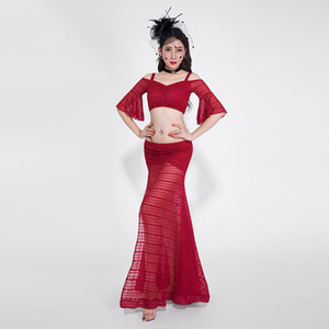 Belly Dance Costume sexy maniche corte Top e gonna danza orientale Costumi Gioielli Bellydance pizzo Gypsy Skirt DQS1246