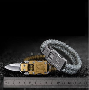 الفولاذ المقاوم للصدأ سوار بقاء سكين حبل سوار محول سبعة مظلة حبل الأساسية المنسوجة سوار الطوارئ في الهواء الطلق حبل اليد