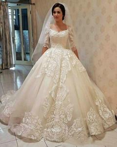 Арабский половина длинных рукавов шарикового платья кружева свадебные платья 2019 с аппликациями с плечами развертки поезд свадебные свадебные платья