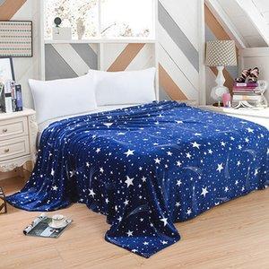 Süper Yumuşak Sıcak Katı Sıcak Mikro Peluş Polar Battaniye Atmak Halı Kanepe Yatak Flanel masaj yetişkin Yıldızlı gökyüzü battaniye