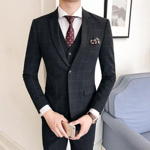 Mens British Style Business Casual Single-breasted Suits /male Solid Color Plaid Blazers Jacket + Pants Sets Trajes Hombre