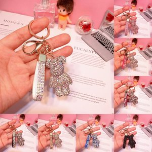 DHL shipping Luxury Bag Keychian Jewelry 8 Styes Fashion Cute Cartoon Bear Crystal Rhinestone Keyrings Charm Car Pendant Key Chains L197FA