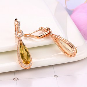 Wholesale-Natural Gemstone Teardrop Citrine Drop Earrings 925 Sterling Silver Rose Gold Fine Jewelry For Women BWEI024 Y18110110