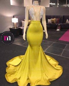 2020 Chegada Nova Vestidos sem mangas Sereia Prom partido Trem da varredura Crytal Formal Africano Evening Prom Dress