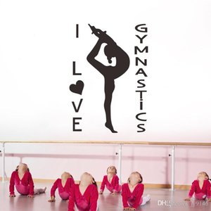 I Love Gymnastics Wall Decals Vinyl Gym Wall Art Sticker para sala de baile y Yugo Club Decoration Sports Wallpaper