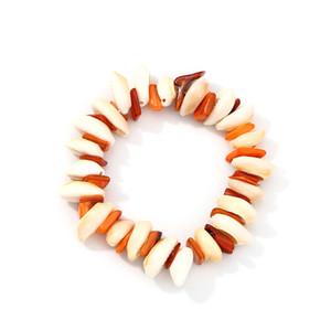 Hecho a mano Natural Cowrie Beads Shell Tejida Cadena Pulsera Nudo Ajustable Boho Verano Pulseras Amistad Joyería