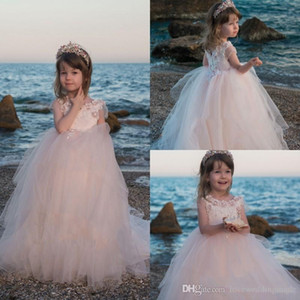 Blush Pink Flower Girls Платье для свадьбы 2020 Дешевого кружево цветка Line Девушки Pageant платья