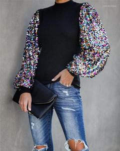 Tshirts Moda Sequins Kasetli Fener Kol Bahar Kadın Designer ile Bayanlar Mürettebat Boyun Tees Tops