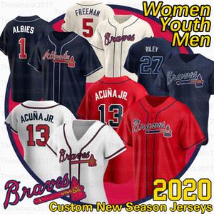 Atlanta Ronald Acuna Jr. Jersey Austin Riley 27 Ozzie Albies 5 Freddie Freeman Dansby 10 Swanson Chipper Jones 2020 Saison Trikots