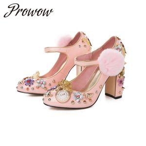 Prowow 2020 nuevos remaches zapatos de mujer de moda de diamantes