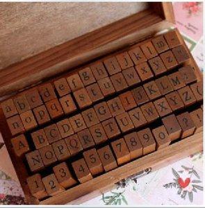 70 PC fijó Sellos de madera del alfabeto sello normalizado forman sellos digitales y las letras 14.6 * 8.6 * 5cm 2 estilos