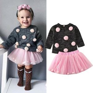 2Pcs Baby Girl Autumn Clothes Balls Sweater+Tulle Skirt Dress Toddler Kids Girls Winter Warm Outfit Clothing Set 6M-4T