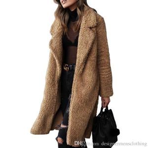 Женщины Длинных пальто зимы плюш отворот шея мода Кардиган шерсть пальто вскользь Сплошные женщины цвета Верхней одежда
