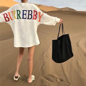 Contener algodón del resorte desgaste del otoño nueva versión ins coreanos LÁNGUIDA viento flojo suéter medio largo femenino de la manga bestie bf harajuku desata delgada