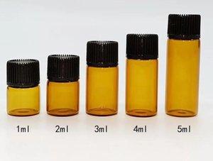 500PCS 1ml 2ml 3ml 4ml 5ml Mini Amber Glass Vials Small Mini Essential Oil Bottle with Orifice Reducer and Cap Small Bottles Jar