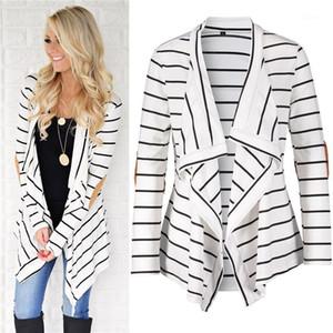 Sleeve unregelmäßiger Rand Kleidung Womens Designer Jacken Striped Panelled Mode lose Frauen Cardigan Outer beiläufige lange