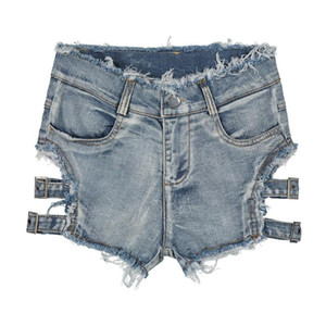 Sexy Sommer High Waist Jeans Frauen Jeans-Shorts Street zerrissene kurze Jeans Femme Quaste Loch Bandage Hot Pants Street Style