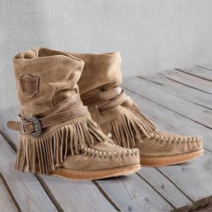 Dihope Kadın Kısa Çizme İngiliz Stili Kısa Tüp Buzlu Püskül Boots İngiliz Stil Asansör Kadın Düz ayakkabı