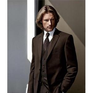 Новая модная Две кнопки Chocolate Brown Groom Tuxedos Нотч Groomsmen Шафер Костюмы мужские свадебные костюмы (куртка + брюки + жилет + Tie) 409