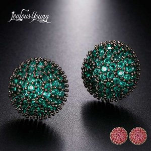 Druzy Green Round Punk Stud Earrings for Women Black Gold Color Cubic Zirconia Bohemia Romantic Small Earings Africa Jewelry