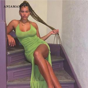 ANJAMANOR Neon Green Sexy Summer Club Bodycon Dress Women Fashion 2020 Metal Chain Halter Backless High Split Long Dress D94AD26 MX200518