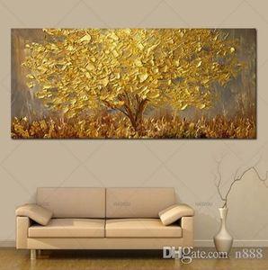 Pintado à mão HD Imprimir Abstract Modern Art Oil Painting Golden Tree, Casa decoração da parede em alta qualidade tela multi Tamanhos L05