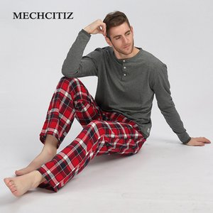 MECHCITIZ Automne Hiver Pyjama Ensembles coton respirant à manches longues Homme Pyjama de nuit Plus Size Pyjama doux Homewear