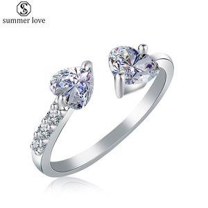 Zwei Herz-Gegen Zircon-Ring justierbares Öffnungs-Ring Foreign Trade Best-Selling-Paar-Ring für Frauen Hochzeitstag Schmuck-Z