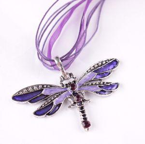 Vente chaude 6colors Vintage émail Dragonfly pendentif en cristal Colliers Collier Organza chaîne Colliers bijoux de mode
