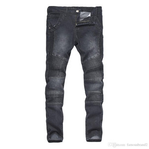 Dökümlü Erkek Jeans Biker Sokak Tasarımcı Slim Fit Erkek Hombres Kalem Pantalones Pantolon