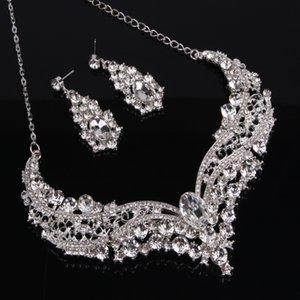 Set di gioielli da sposa di lusso argento con cristalli donne collana orecchini per borchie per sposa damigelle d'onore