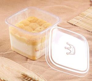 Limpar bolo caixa transparente Praça Mousse de plástico queque caixas com tampa Wedding Party Pudim Yoghourt Suprimentos 300sets