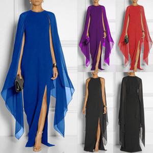 Señoras de las mujeres de Boho del verano Mantón vestidos de partido delgado sólido de Split playa vestido maxi largo Vestido de tirantes