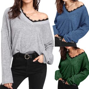 Женщины свитер V-образным вырезом Sexy без бретелек с длинным рукавом кружева вязаный пуловер свободные свитера перемычки топы