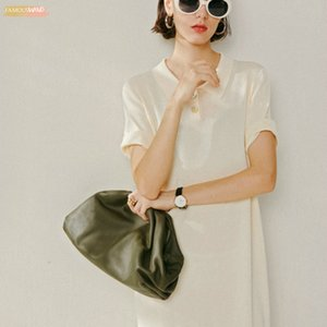 Day Clutch Evening Party Purse Bag Women Large Ruched Pillow Hand Bag Leather Cloud Soft Pouch Handbag 2020 Summer