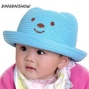 [DINGDNSHOW] 2019 Nouveau Chapeau de paille enfants Cartoon oreille belle décoration caractère Chapeau de soleil solide Floppy Panama pour filles et garçons