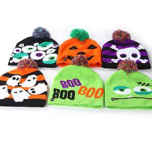 Sombreros de punto para niños de Halloween Led Baby Moms Gorros cálidos de invierno Gorros de ganchillo para Calabaza Fantasma Cráneo Festival Suministros para fiestas HH9-2303