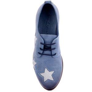 Sail Lakers-Джинсовая Синяя Кожаная Женская Повседневная Обувь