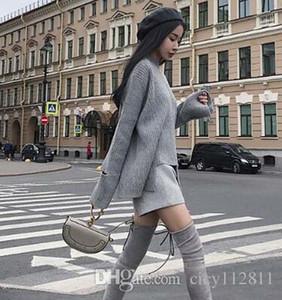 Pop2019 E Street Shoot Latest Sweater Asymmetric Short Skirt Suit a due pezzi