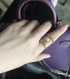 Fashion-18K real Gold Plated Rings Hollow Design with pearl and crystal diamond for women Finger opened Ring For Girls OL Women PS5482