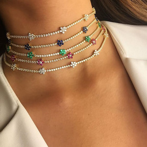 32 + 8 cm cz colar de pingente de tênis para as mulheres 2019 primavera novo design cz flor charme lindo gargantilha