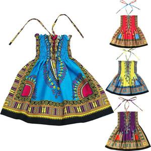 2-7Y del niño de la niña de la ropa del cabrito africana estilo de Bohemia del vestido de los vestidos del bebé Vestido de tirantes de verano