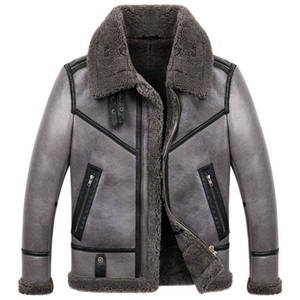 남성용 B3 Shearling Jacket 남성용 짧은 양모 코트 겨울 Turndown Collar Leather Jacket