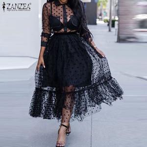 ZANZEA Sommer Sexy Transparent durchschauen Mesh-Sheer-Kleid-Frauen-Polka-Punkt-Spitze Sundress beiläufige Rüschen Hem Schwarz Vestido Robe