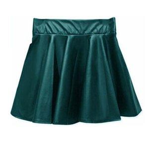 Swokii Mulheres cintura alta PU Leather patinador mini saia cor sólida Sexy Short plissadas Saias NFE99