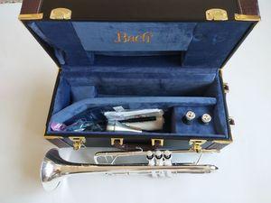 La mejor calidad Bach bemol trompeta de plata chapado genuina LT180S37 instrumento musical de trompeta de latón de grado profesional de juego