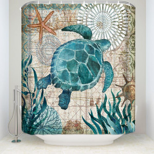 Ткань Занавески для Душа Sea Turtle Home Decor Аксессуары Для Ванной Комнаты Водонепроницаемый Полиэстер Кит Кити Осьминог Занавески Для Ванн